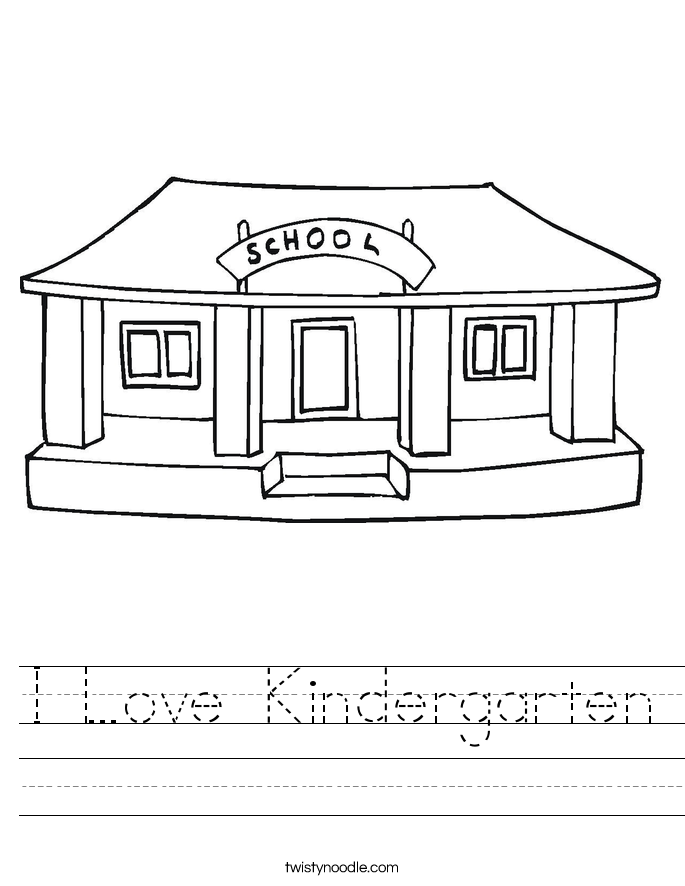math worksheet : i love kindergarten worksheet  twisty noodle : Kindergarten Worksheet