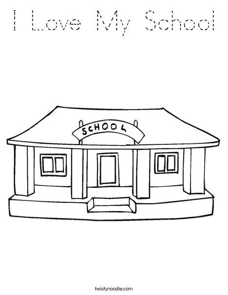 I Love My School Coloring Page
