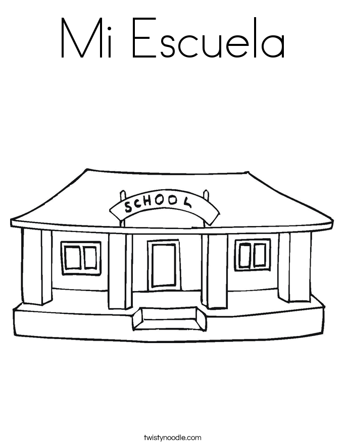 Mi Escuela Coloring Page - Twisty Noodle