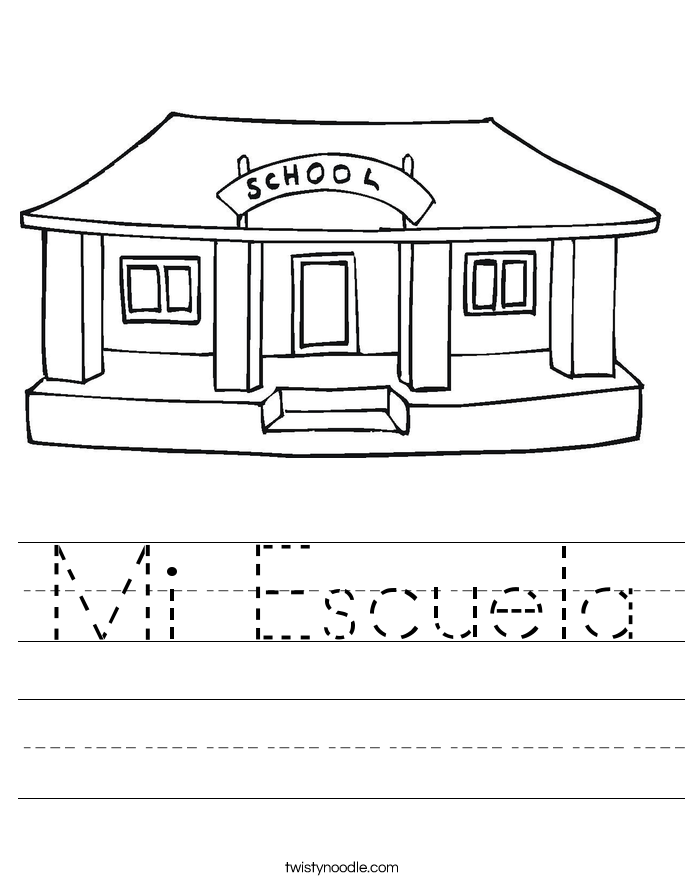 Mi Escuela Worksheet - Twisty Noodle