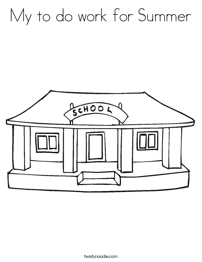 My to do work for Summer Coloring Page