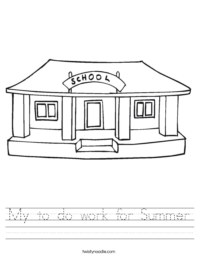My to do work for Summer Worksheet