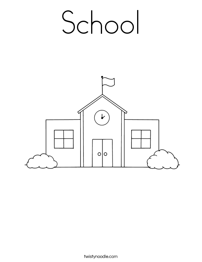 school coloring page - Coloring Page Of A School