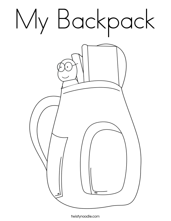 Backpack Coloring Page Twisty Noodle