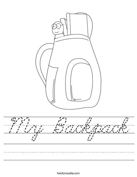 School Backpack Worksheet