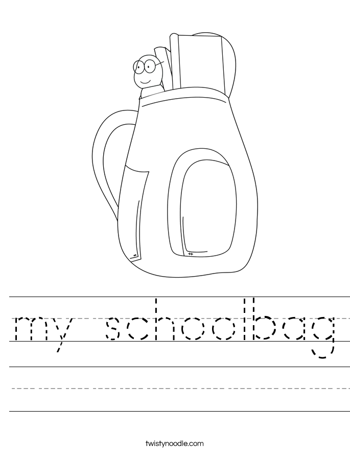 my schoolbag Worksheet - Twisty Noodle