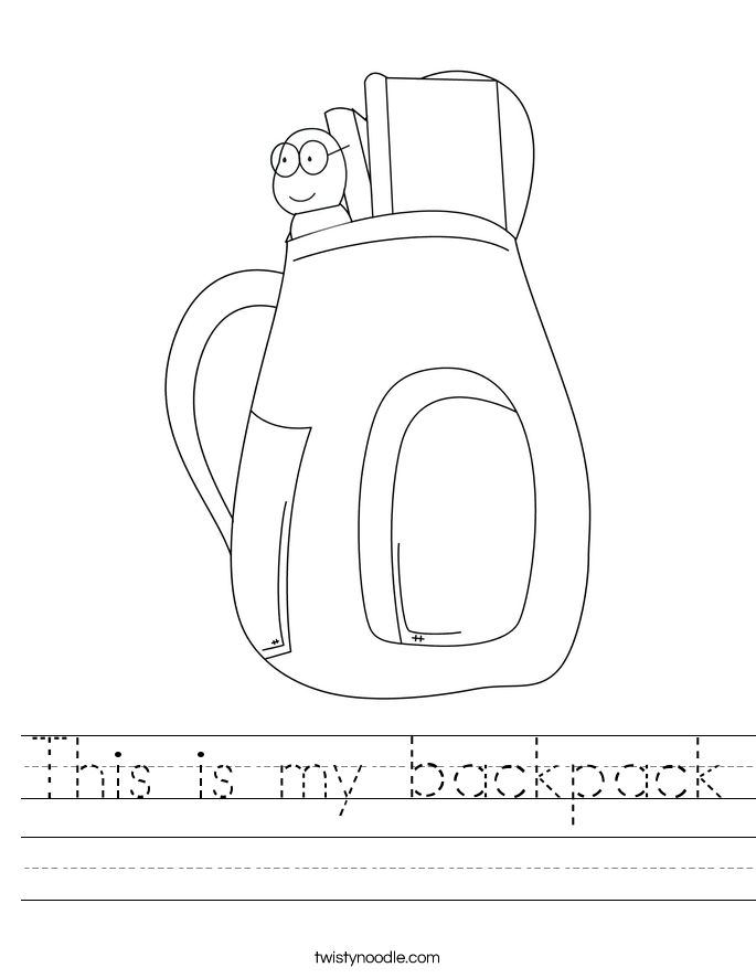 This is my backpack Worksheet