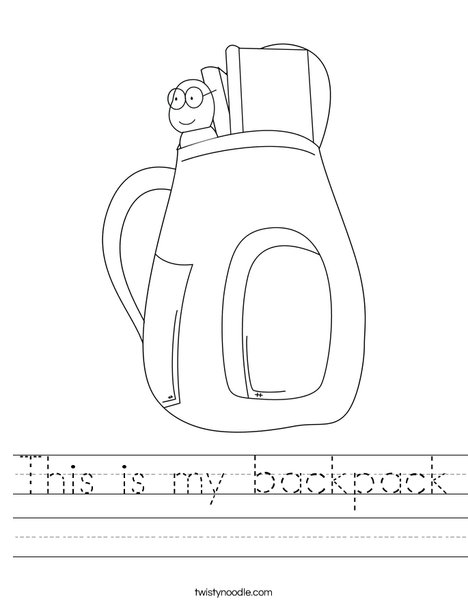 School Backpack Worksheet