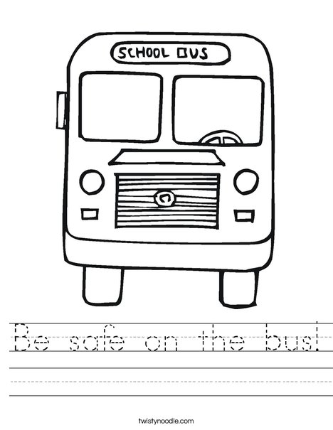 Be safe on the bus Worksheet - Twisty Noodle