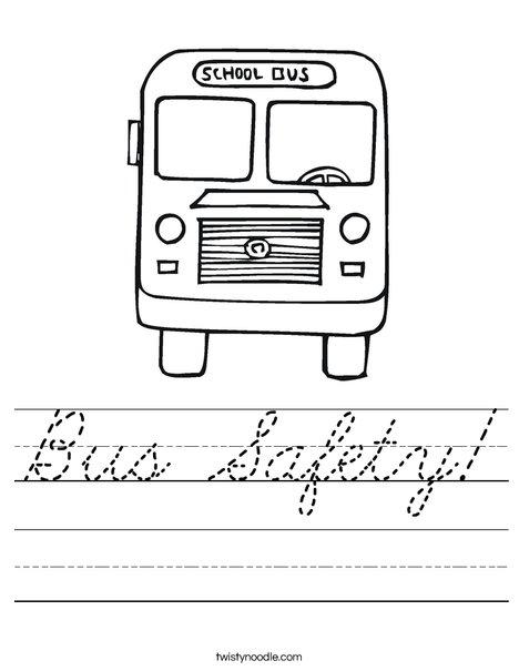 Back to School Bus Worksheet