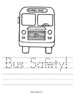 Bus Safety Handwriting Sheet