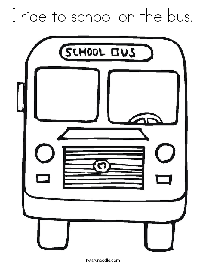 I ride to school on the bus. Coloring Page