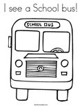 I see a School bus! Coloring Page