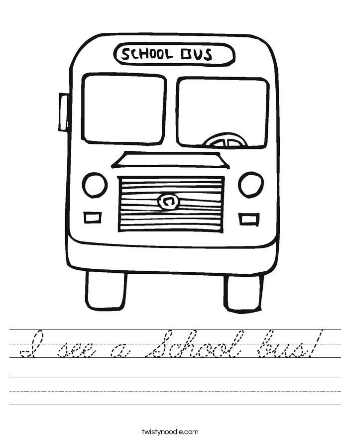 I see a School bus! Worksheet