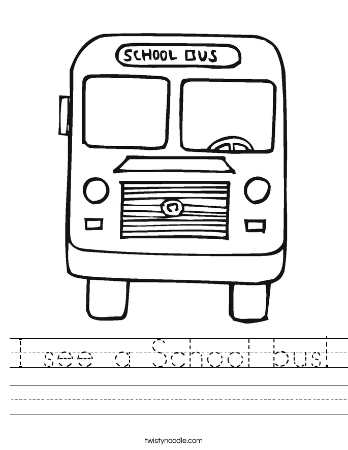 I see a School bus! Worksheet