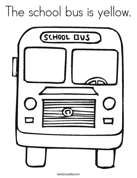 The School Bus Is Yellow Coloring Page - Twisty Noodle