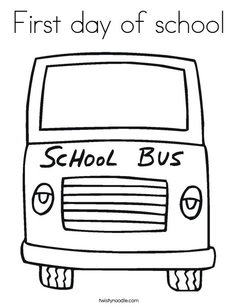 yellow school bus coloring page - First Day Of School Coloring Page