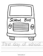 First day of school Handwriting Sheet