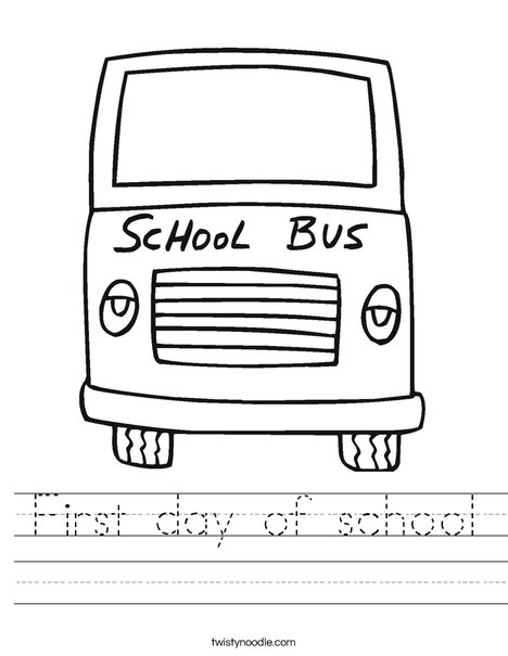 pre k first day of school coloring pages - first day of school worksheet twisty noodle