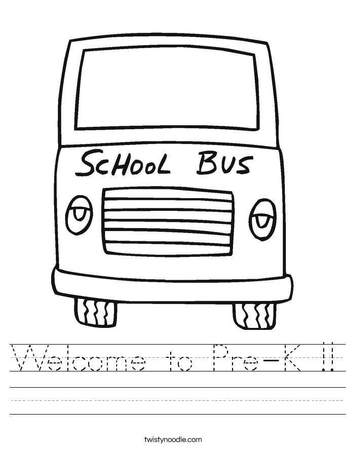 Welcome to Pre-K !! Worksheet