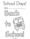 School Days! Coloring Page