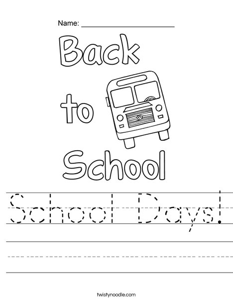 School Days! Worksheet