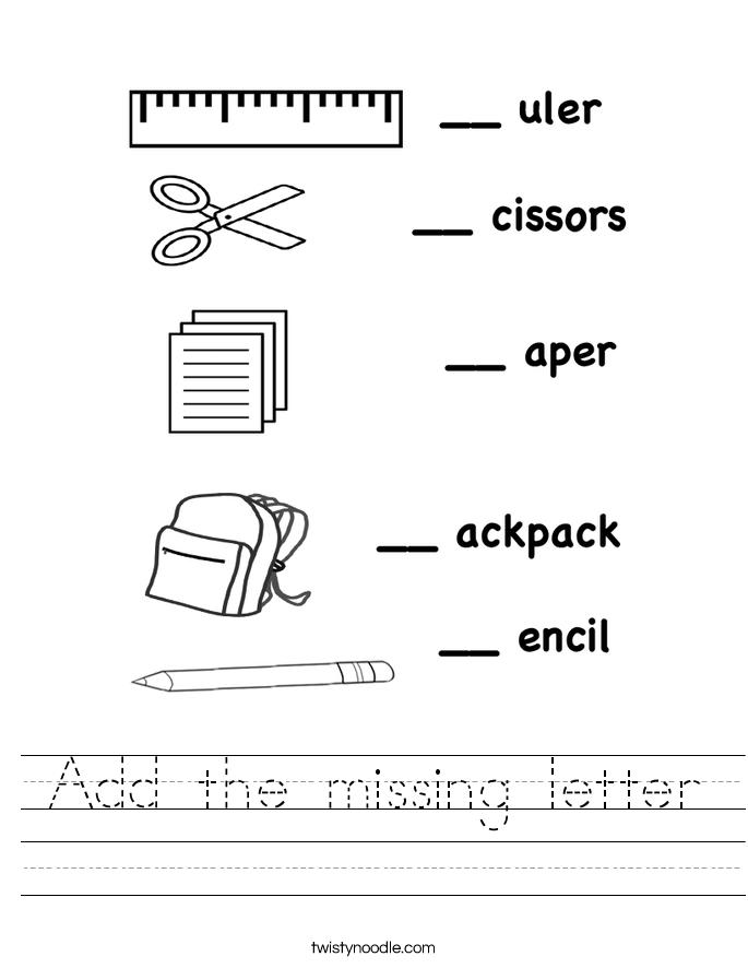 Add the missing letter Worksheet Twisty Noodle – Missing Alphabet Worksheets