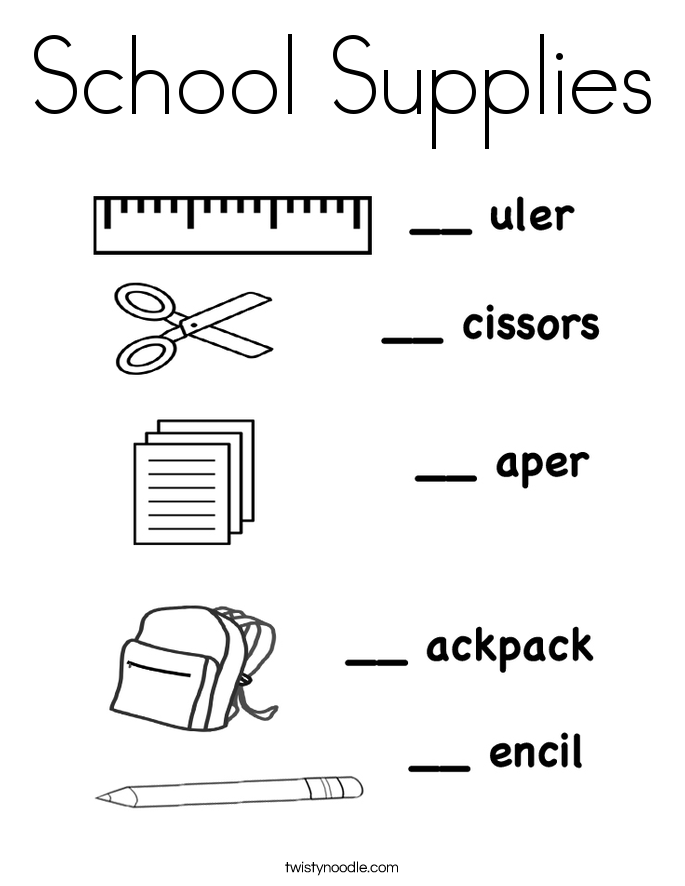 school supplies coloring page - Coloring Pages School