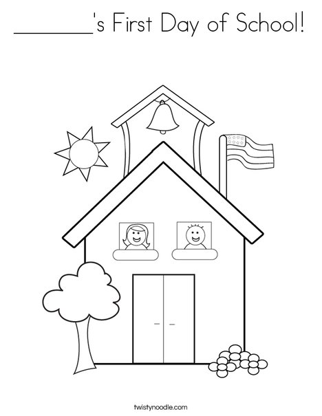 school with kids coloring page - First Day Of School Coloring Page