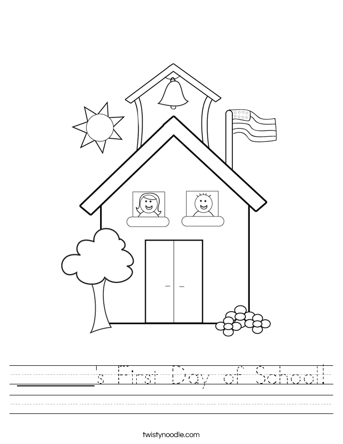 _______'s First Day of School! Worksheet
