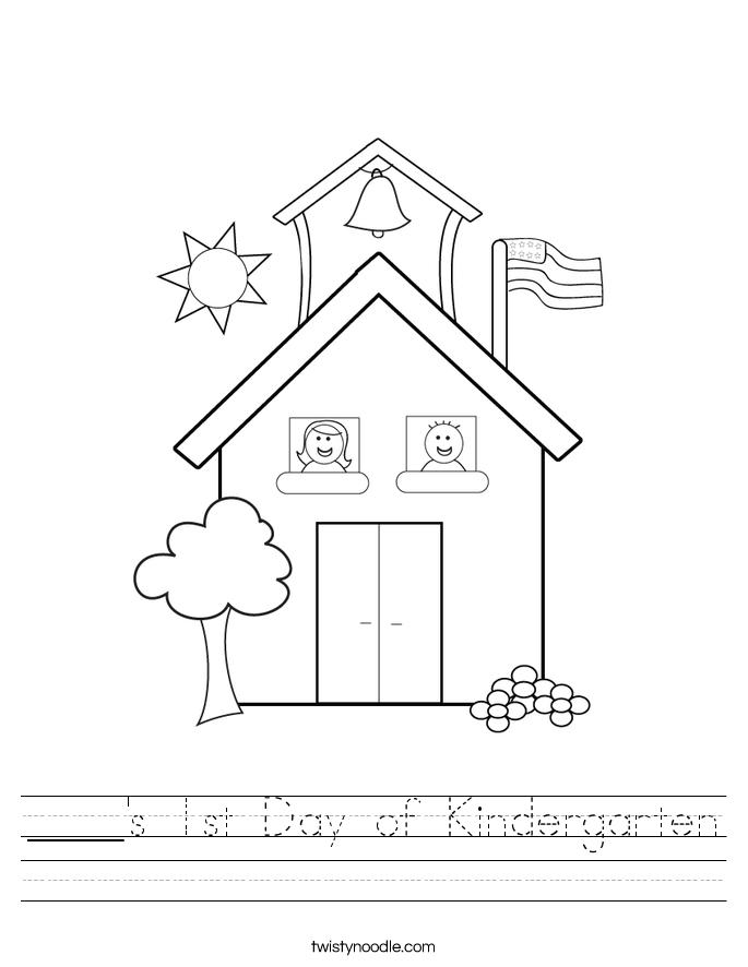 Printable Worksheets is and are worksheets for kindergarten : ____'s 1st Day of Kindergarten Worksheet - Twisty Noodle
