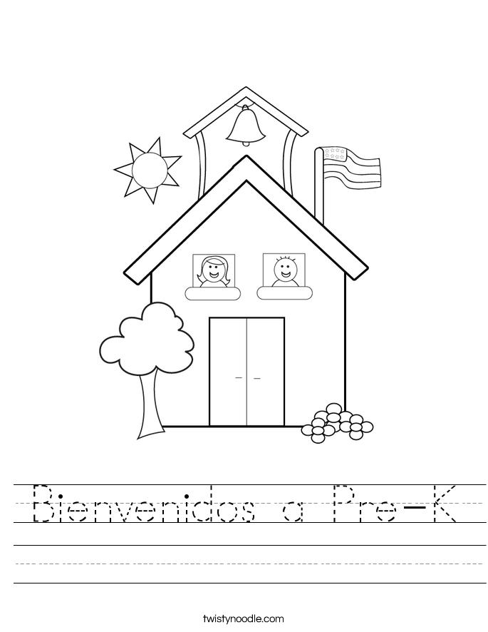 math worksheet : bienvenidos a pre k worksheet  twisty noodle : Pre Kindergarten Worksheets