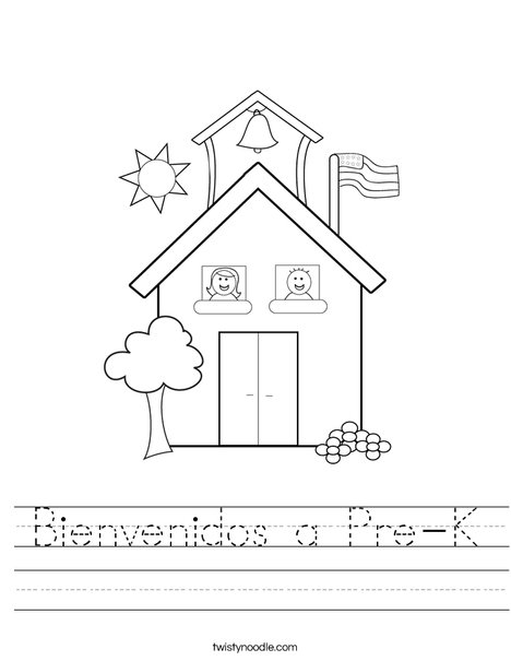 math worksheet : bienvenidos a pre k worksheet  twisty noodle : Pre Kindergarten Worksheet