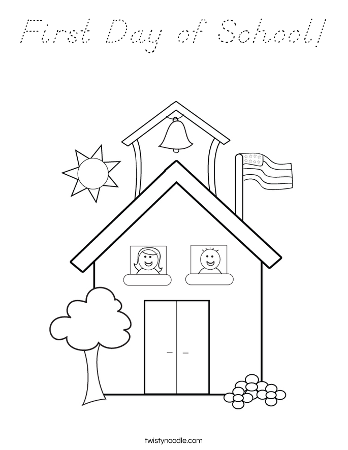 First Day of School! Coloring Page