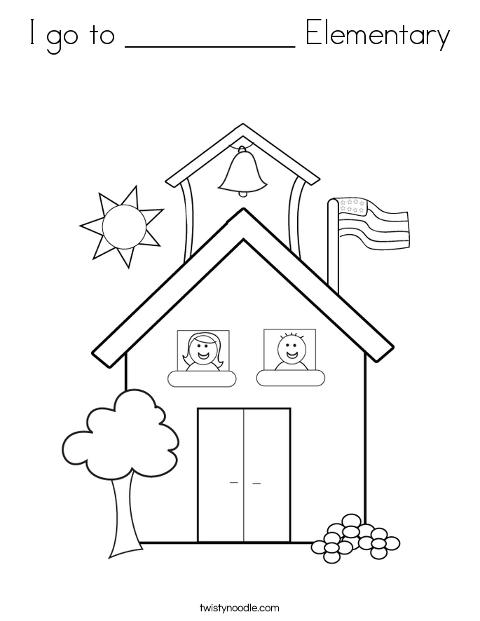 I go to ___________ Elementary Coloring Page