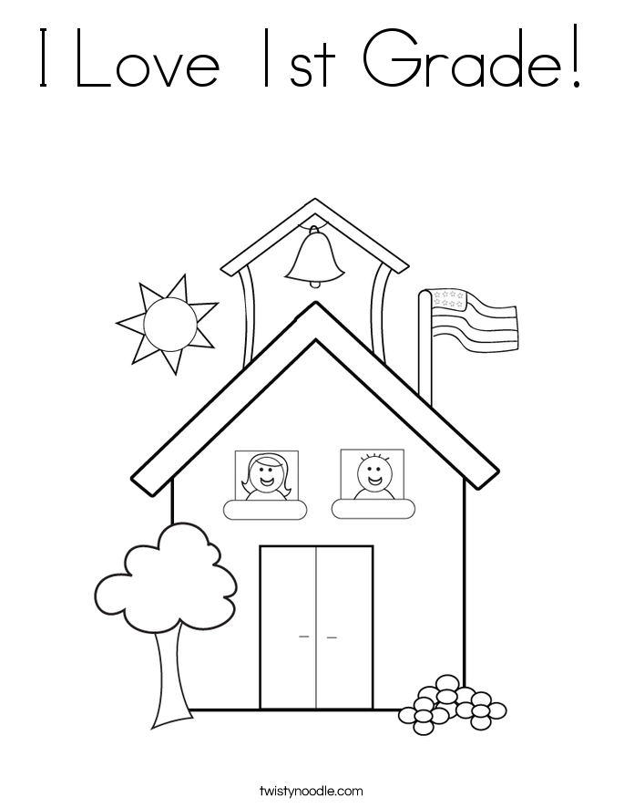 I Love 1st Grade! Coloring Page