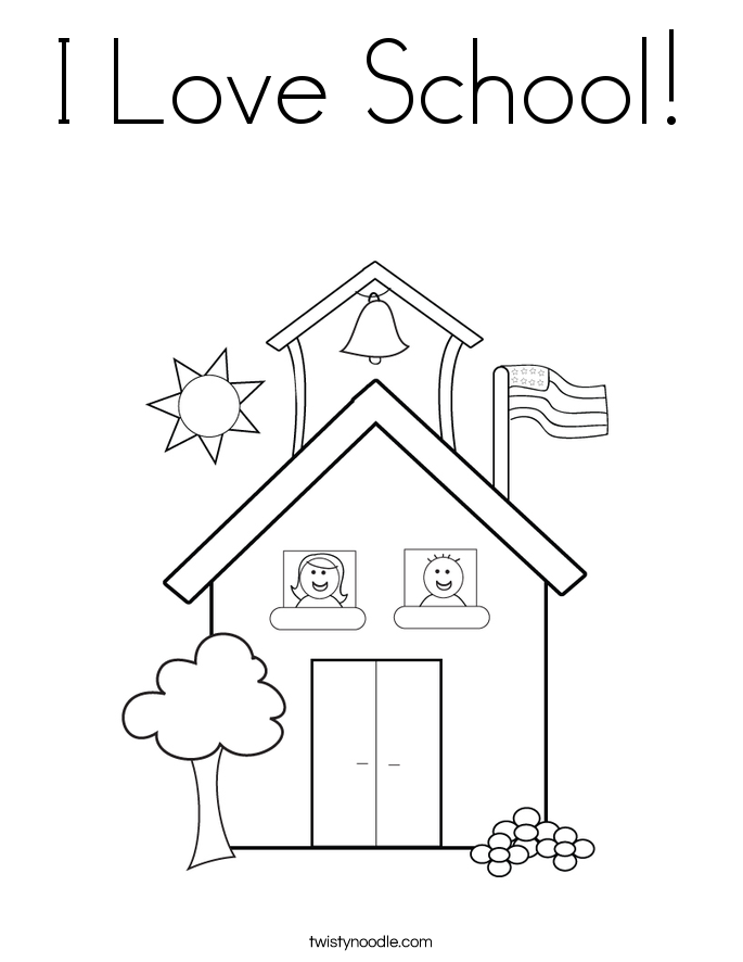 I Love School Coloring Page