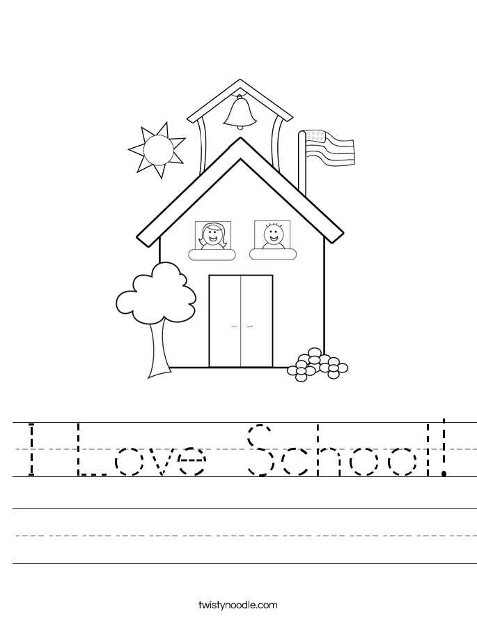 math worksheet : i love school worksheet  twisty noodle : School Worksheets For Kindergarten