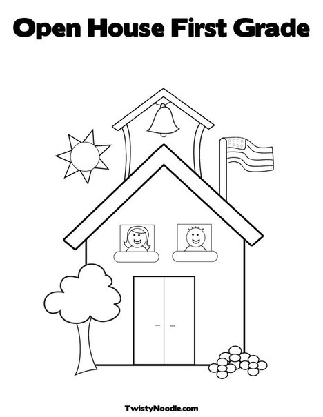 School house template for Open house coloring pages