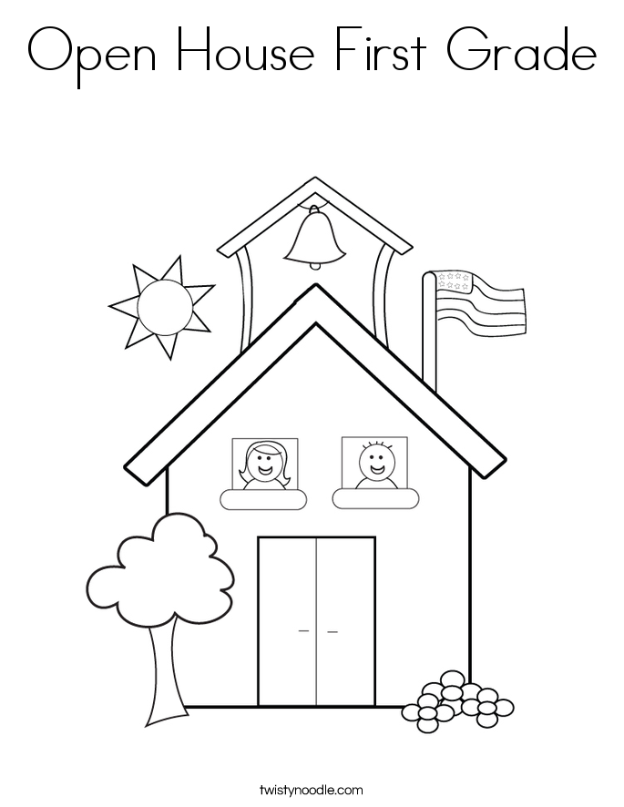 Open House First Grade Coloring Page