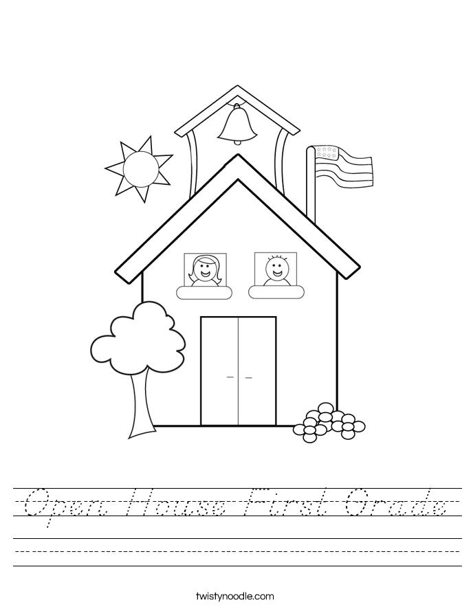 Open House First Grade Worksheet