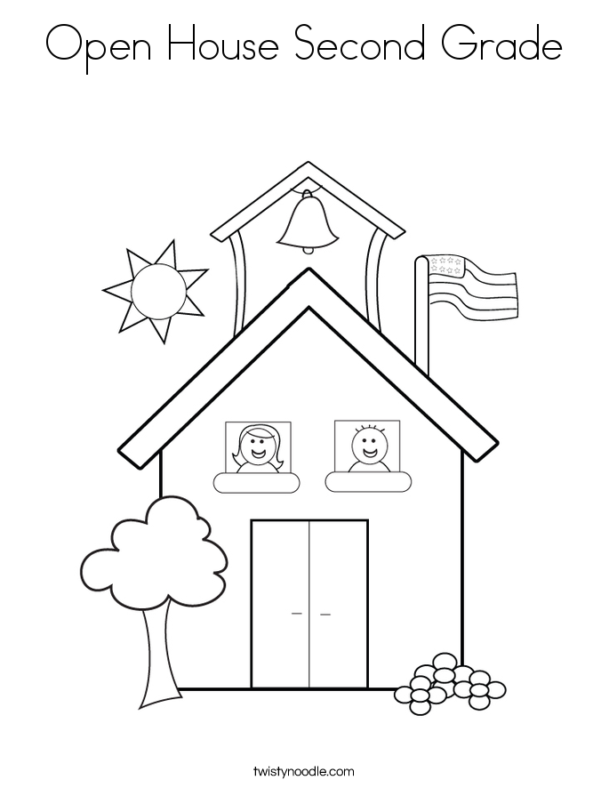 Open House Second Grade Coloring Page