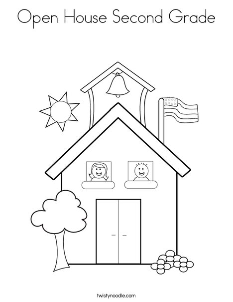 school with kids coloring page - Coloring Pages For 2nd Graders