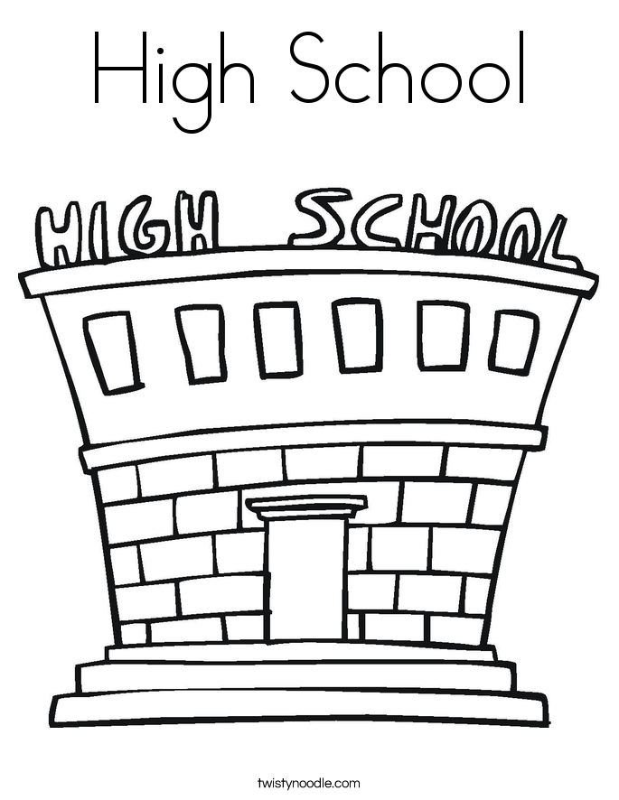 high school coloring page - Coloring Page Of A School