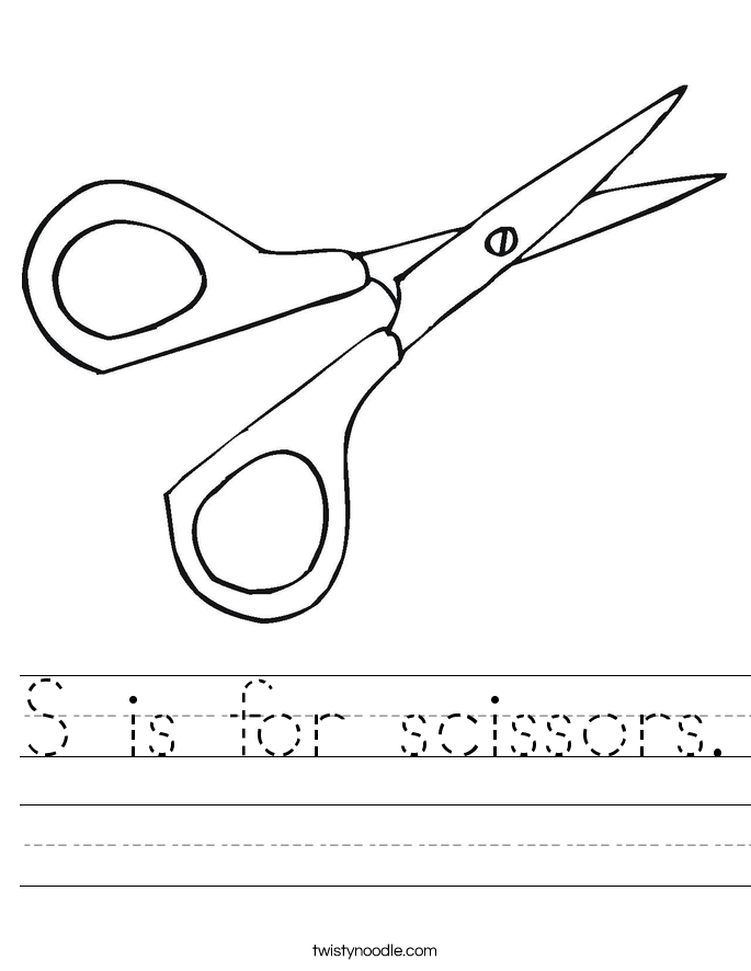 S is for scissors. Worksheet
