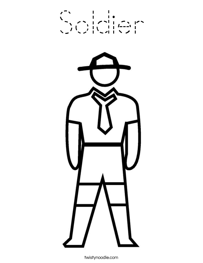 Soldier Coloring Page Tracing