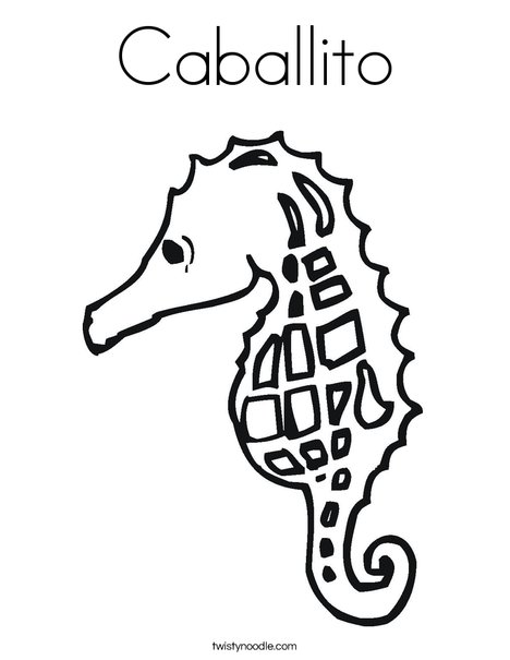 Seahorse with Pattern Coloring Page