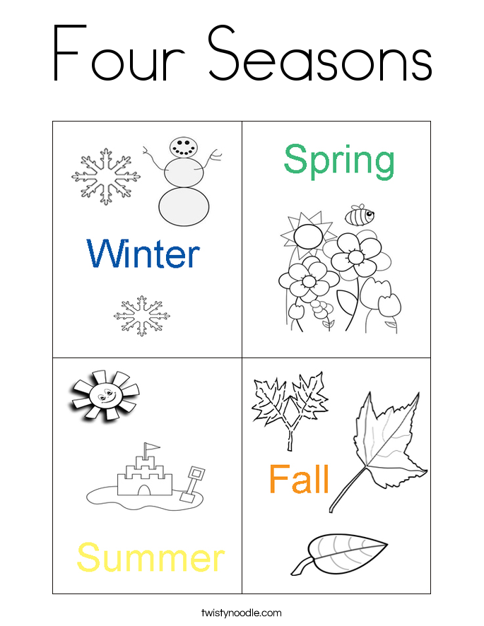 Lovely Four Seasons Coloring Page.