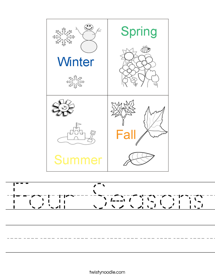 Four Seasons Worksheet Twisty Noodle – Seasons Worksheet Kindergarten