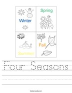 Four Seasons Handwriting Sheet